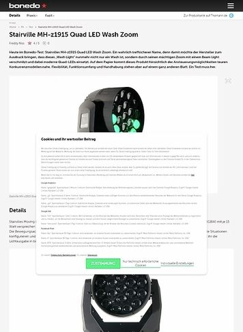 Bonedo.de Stairville MH-z1915 Quad LED Wash Zoom