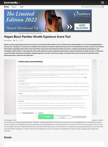 Bonedo.de Mapex Black Panther Wraith Signature Snare
