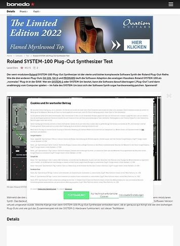 Bonedo.de Roland SYSTEM-100 Plug-Out Synthesizer