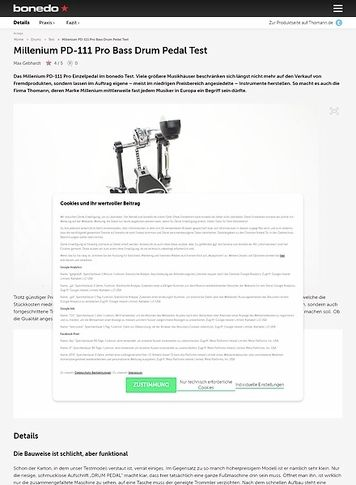 Bonedo.de Millenium PD-111 Pro Bass Drum Pedal