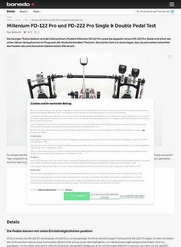 Bonedo.de Millenium PD-122 Pro und PD-222 Pro Single & Double Pedal Test