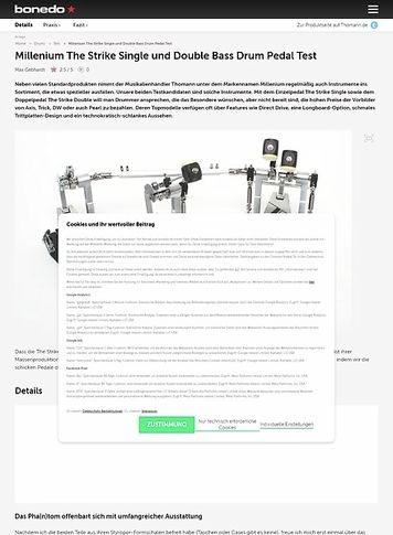 Bonedo.de Millenium The Strike Single und Double Bass Drum Pedal