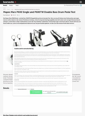 Bonedo.de Mapex Mars P600 Single und P600TW Double Bass Drum Pedal
