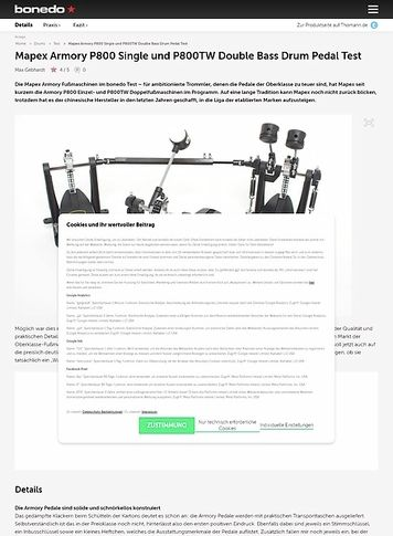 Bonedo.de Mapex Armory P800 Single und P800TW Double Bass Drum Pedal
