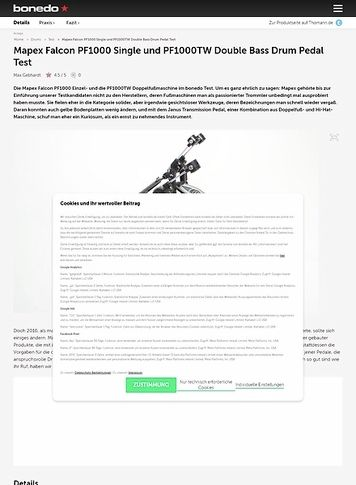 Bonedo.de Mapex Falcon PF1000 Single und PF1000TW Double Bass Drum Pedal