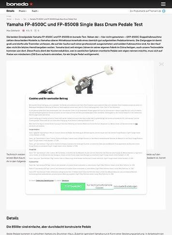 Bonedo.de Yamaha FP-8500C und FP-8500B Single Bass Drum Pedale Test