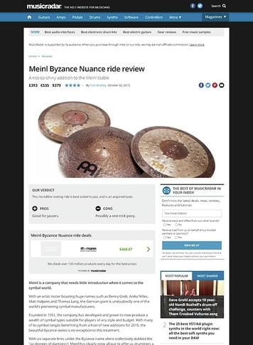 MusicRadar.com Meinl Byzance Nuance ride