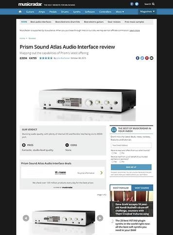 MusicRadar.com Prism Sound Atlas Audio Interface