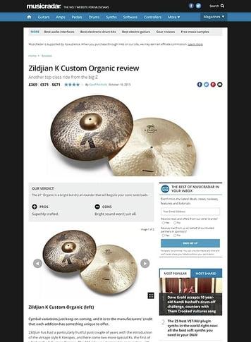 MusicRadar.com Zildjian K Custom Organic