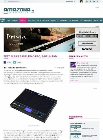 Amazona.de Test: Alesis Samplepad Pro, E-Drum Pad
