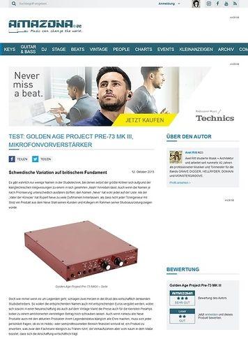 Amazona.de Test: Golden Age Project Pre-73 MK III, Mikrofonvorverstärker