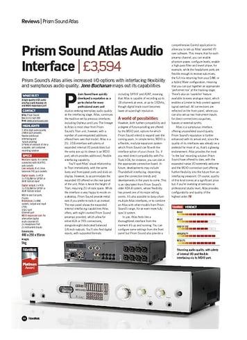 Future Music Prism Sound Atlas Audio Interface