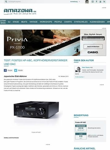 Amazona.de Test: Fostex HP-A8C, Kopfhörerverstärker und DAC