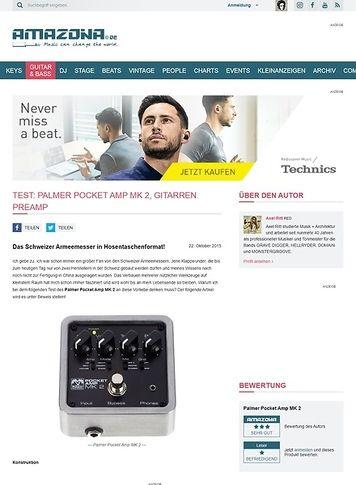 Amazona.de Test: Palmer Pocket Amp MK 2, Gitarren Preamp
