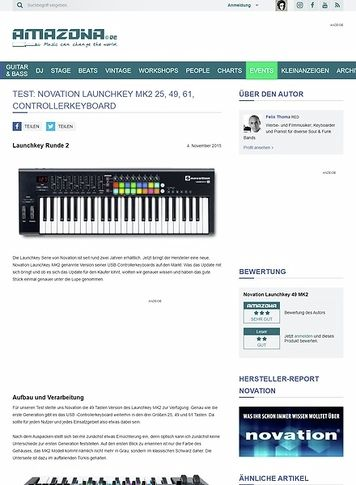 Amazona.de Test: Novation Launchkey MK2 25, 49, 61, Controllerkeyboard