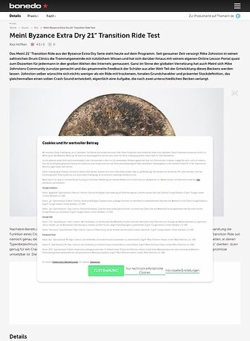 Bonedo.de Meinl Byzance Extra Dry 21 Transition Ride