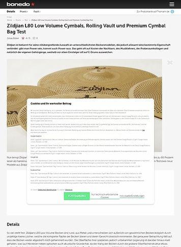 Bonedo.de Zildjian L80 Low Volume Cymbals, Rolling Vault und Premium Cymbal Bag