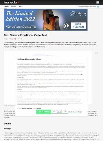 Bonedo.de Best Service Emotional Cello
