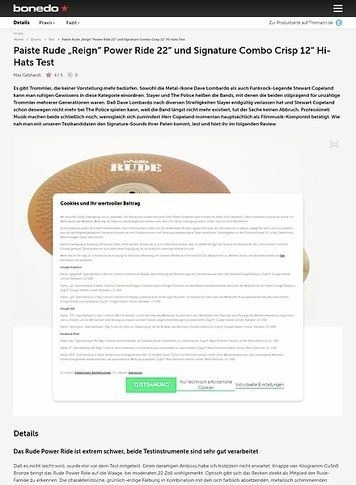Bonedo.de Paiste Rude Reign Power Ride 22 und Signature Combo Crisp 12 Hi-Hats