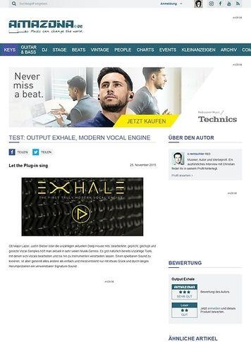 Amazona.de Test: Output Exhale, Modern Vocal Engine