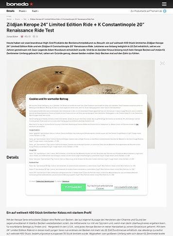 Bonedo.de Zildjian Kerope 24 Limited Edition Ride + K Constantinople 20 Renaissance Ride