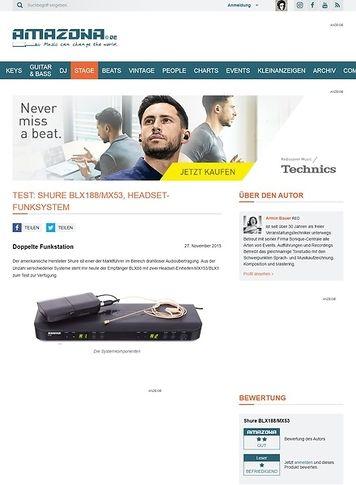 Amazona.de Test: Shure BLX188/MX53, Headset-Funksystem