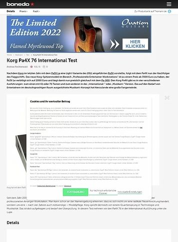 Bonedo.de Korg Pa4X 76 International