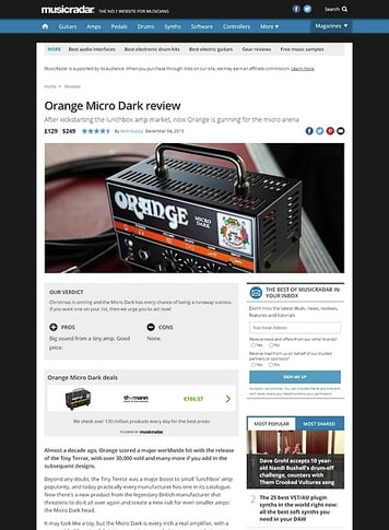 MusicRadar.com Orange Micro Dark