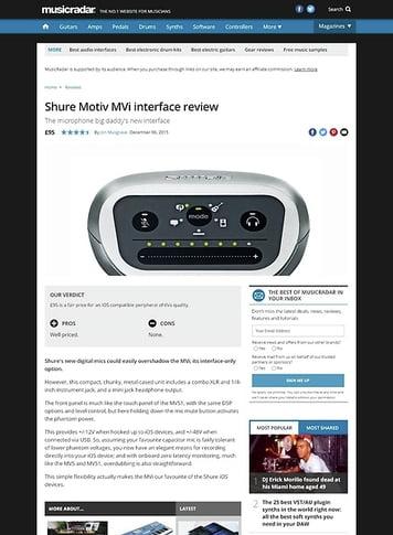 MusicRadar.com Shure Motiv MVi interface