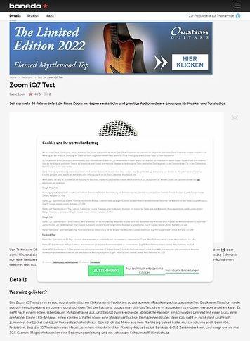 Bonedo.de Zoom iQ7