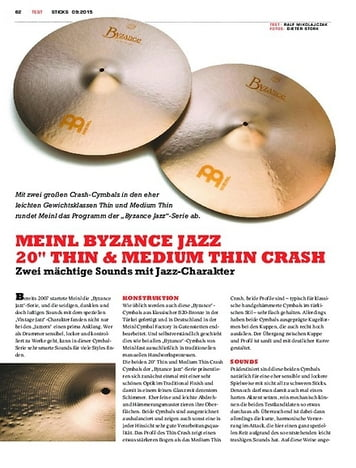"Sticks Meinl Byzance Jazz 20"" Thin & Medium Thin Crash"