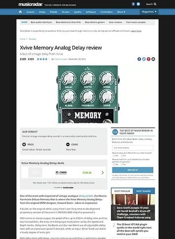 MusicRadar.com Xvive Memory Analog Delay