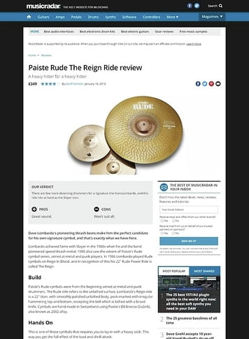 MusicRadar.com Paiste Rude The Reign Ride