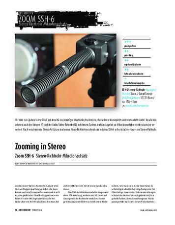 Sound & Recording Zoom SSH-6 - Stereo-Richtrohr-Mikrofonaufsatz