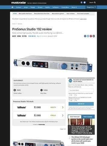 MusicRadar.com PreSonus Studio 192