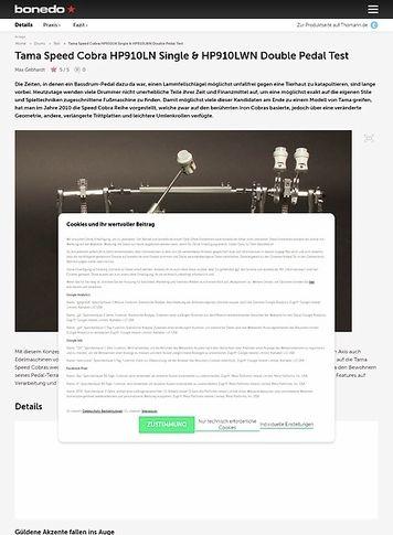 Bonedo.de Tama Speed Cobra HP910LN Single & HP910LWN Double Pedal