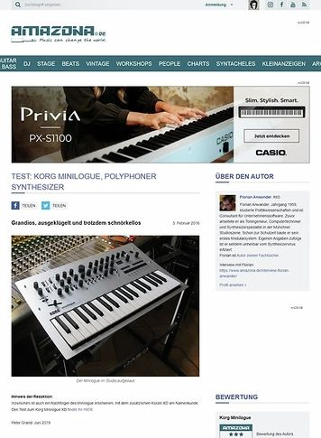 Amazona.de Test: Korg Minilogue, polyphoner Synthesizer
