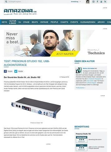 Amazona.de Test: Presonus Studio 192, USB-Audiointerface