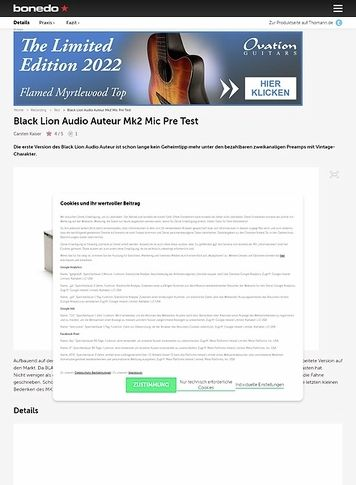 Bonedo.de Black Lion Audio Auteur Mk2