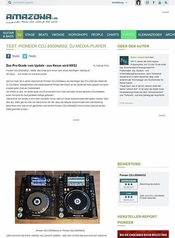 Amazona.de Test: Pioneer CDJ-2000NXS2, DJ Media Player