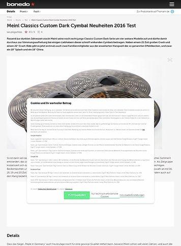 Bonedo.de Meinl Classics Custom Dark Cymbal Neuheiten