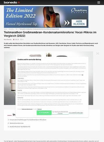 Bonedo.de Testmarathon Großmembran-Kondensatormikrofone: Vocal-Mikros im Vergleich