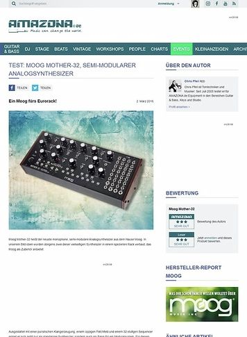 Amazona.de Test: Moog Mother-32, semi-modularer Analogsynthesizer