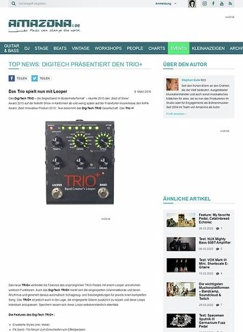 Amazona.de TOP NEWS: Digitech präsentiert den Trio+