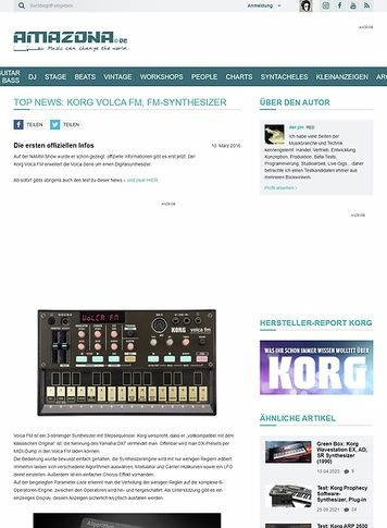 Amazona.de Top News: Korg Volca FM, FM-Synthesizer