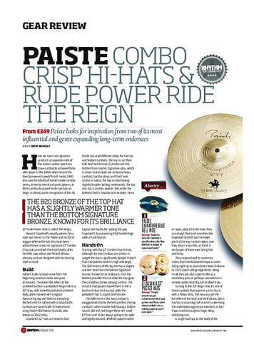 Rhythm Paiste Combo Crisp Hi Hats & Rude Power Ride The Reign