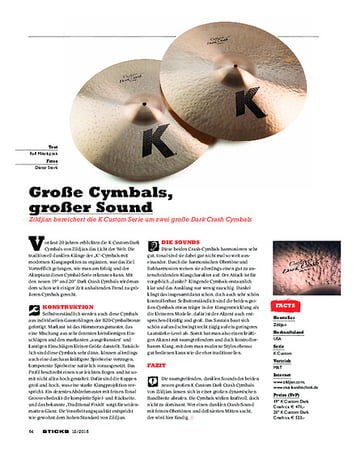 Sticks Zildjian K Custom Dark Crash Cymbals