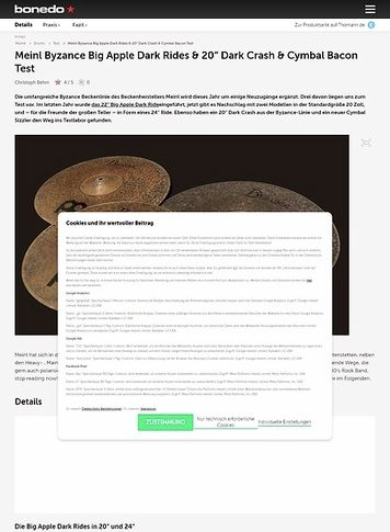 Bonedo.de Meinl Byzance Big Apple Dark Rides, 20 Zoll Dark Crash & Cymbal Bacon