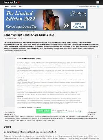 Bonedo.de Sonor Vintage Series Snare Drums