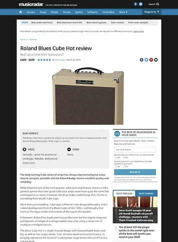 MusicRadar.com Roland Blues Cube Hot